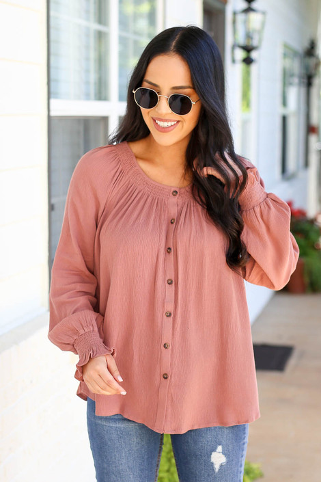 Mauve - Crew Neck Button Up Top