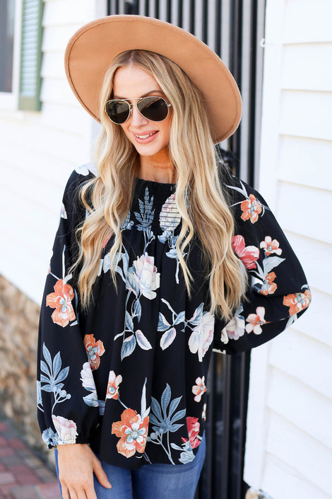 Black - Long Sleeve Floral Smocked Blouse