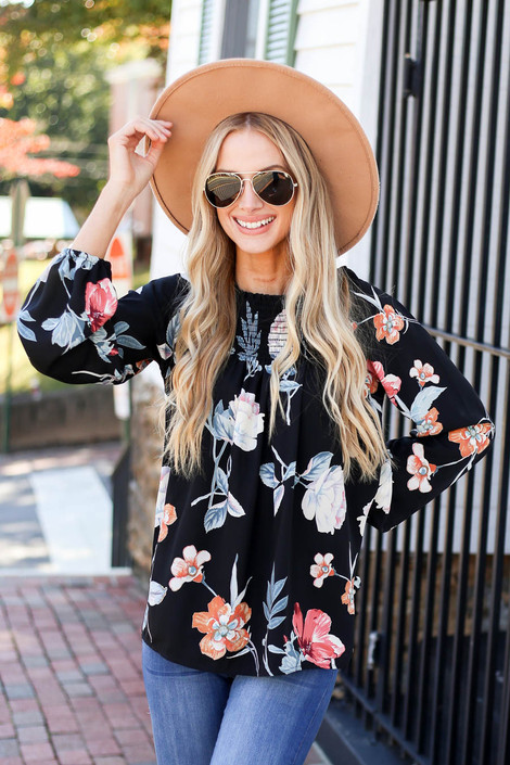 Black - Long Sleeve Floral Smocked Blouse Front View