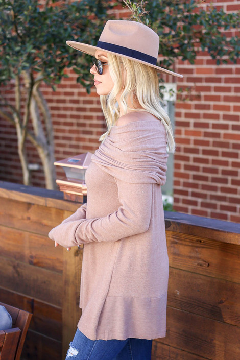 Taupe - Off the Shoulder Fleece Top Side View
