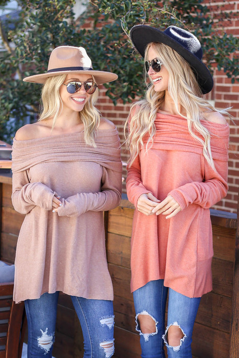 Rust - and Taupe Off the Shoulder FLeece Top