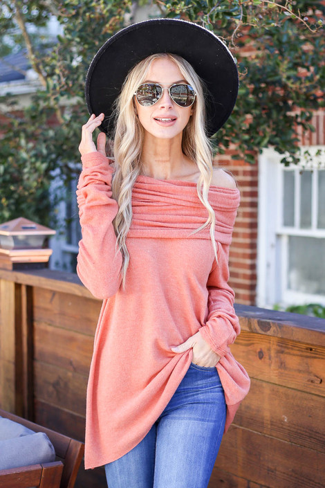 Rust - Off the Shoulder Fleece Top
