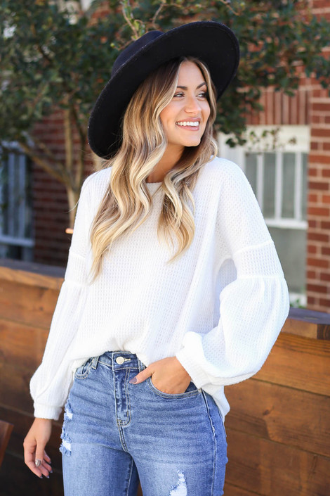 White - Balloon Sleeve Waffle Knit Sweater Tucked In