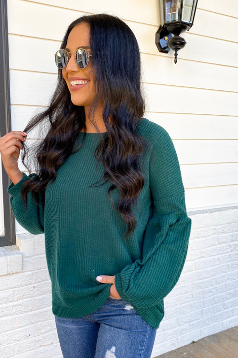 Green - Balloon Sleeve Waffle Knit Sweater Side View
