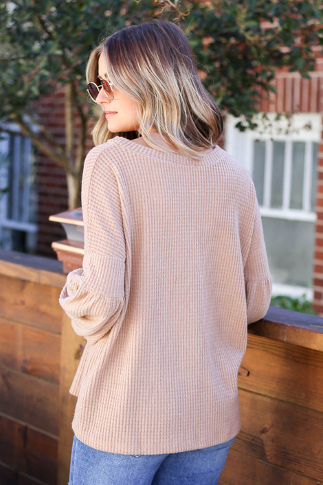 Dress Up Model wearing Taupe Balloon Sleeve Waffle Knit Sweater Back View