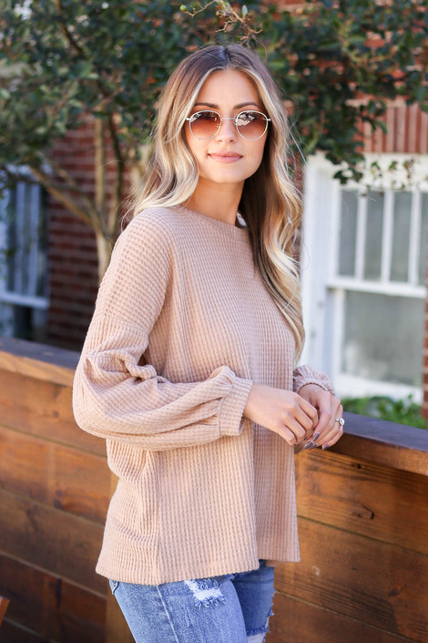 Taupe - Balloon Sleeve Waffle Knit Sweater Side View