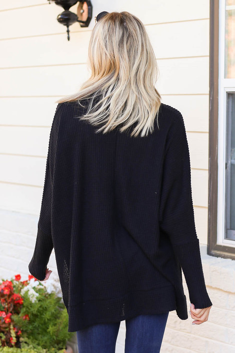 Black - Waffle Knit Cowl Neck Sweater Back View
