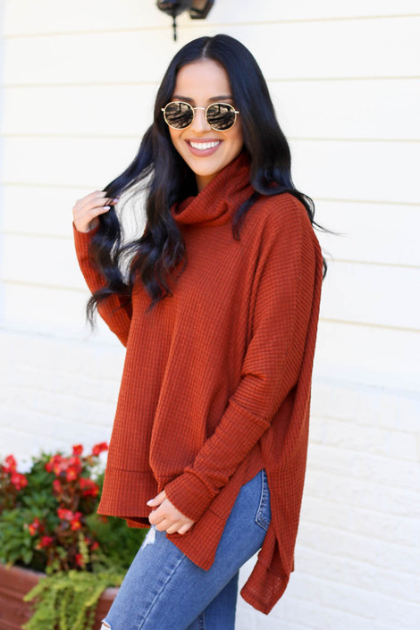 Rust - Waffle Knit Cowl Neck Sweater Side View