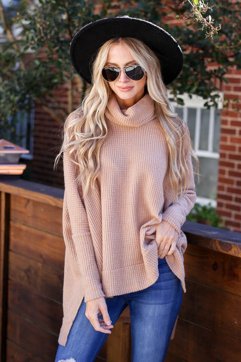 Taupe - Waffle Knit Cowl Neck Sweater