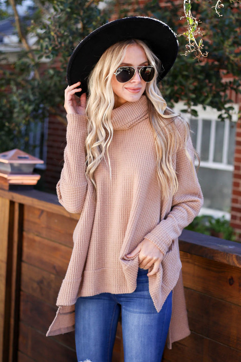 Dress Up Model wearing Taupe Waffle Knit Cowl Neck Sweater
