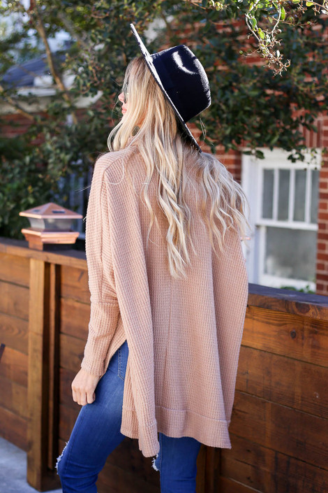 Taupe - Waffle Knit Cowl Neck Sweater Back View