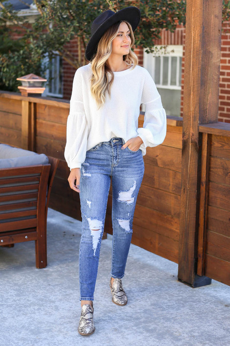 Medium Wash - Distressed Stretch Fit Mom Jeans Full View