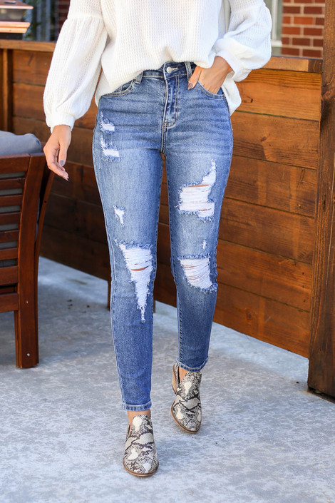 Medium Wash - Distressed Stretch Fit Mom Jeans