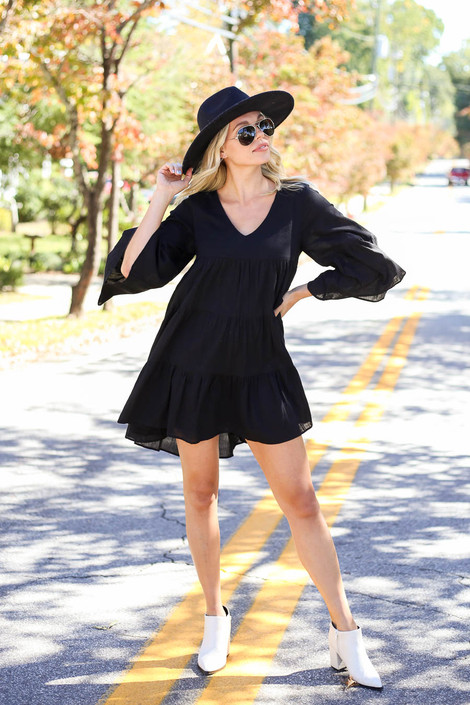 Black - Tiered Bell Sleeve Babydoll Dress