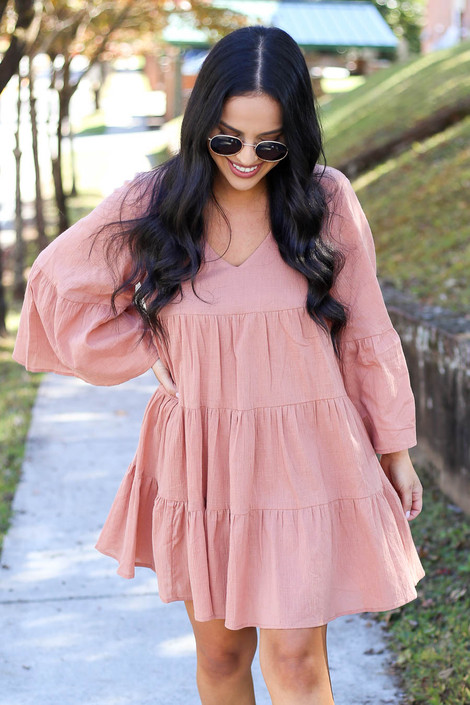 Rust - Tiered Bell Sleeve Babydoll Dress