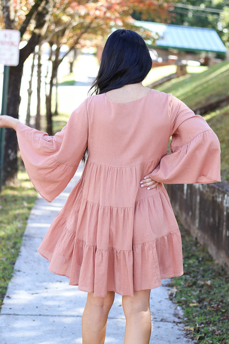 Rust - Tiered Bell Sleeve Babydoll Dress Back View
