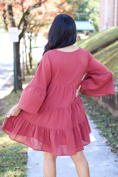 Marsala - Tiered Bell Sleeve Babydoll Dress Back View
