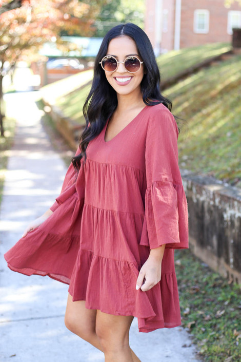Tori Bell Sleeve Babydoll Dress