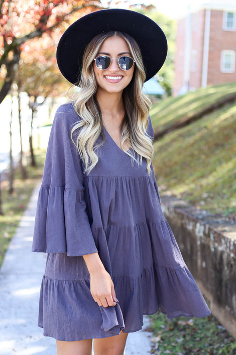 Charcoal - Tiered Bell Sleeve Babydoll Dress