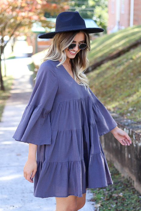 Charcoal - Tiered Bell Sleeve Babydoll Dress Side View