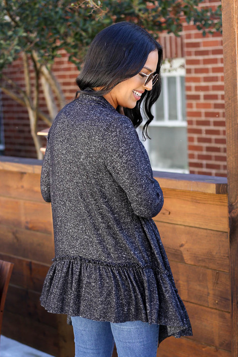 Black - Heathered Ruffle Hem Cardigan Back View