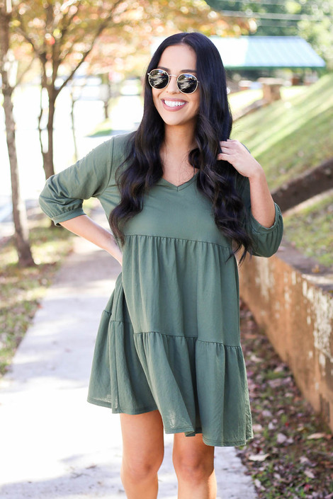 Olive - Tiered Babydoll Dress Full View
