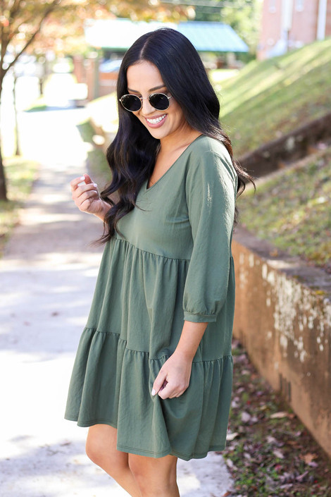Olive - Tiered Babydoll Dress Side View