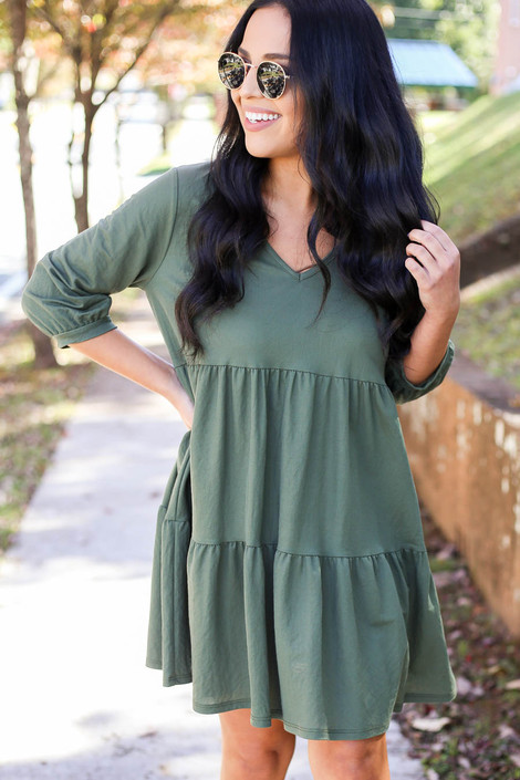 Olive - Tiered Babydoll Dress