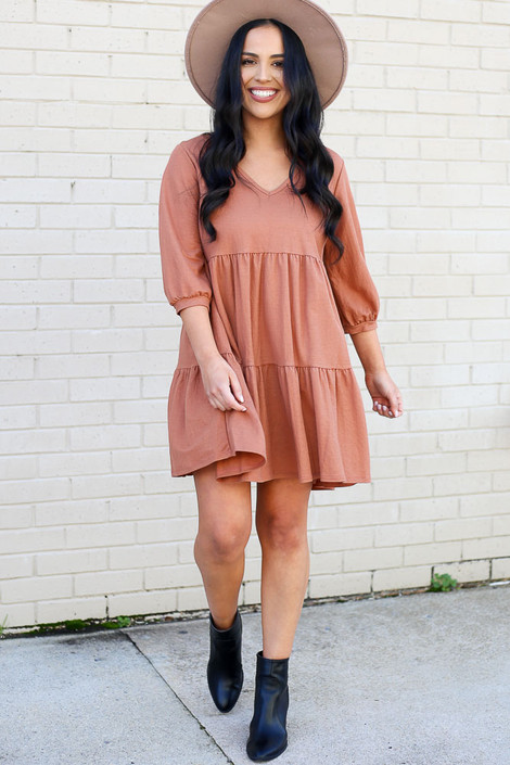 Rust - Tiered Babydoll Dress Side View