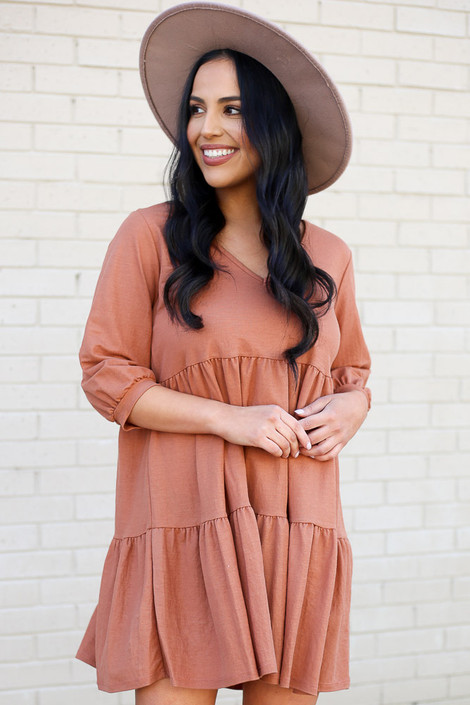 Rust - Tiered Babydoll Dress