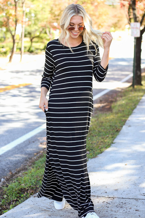 Dress Up Model wearing Black and White Striped 3/4 Sleeve Maxi Dress