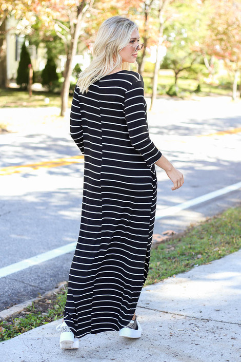 Dress Up Model wearing Black and White Striped 3/4 Sleeve Maxi Dress Back View
