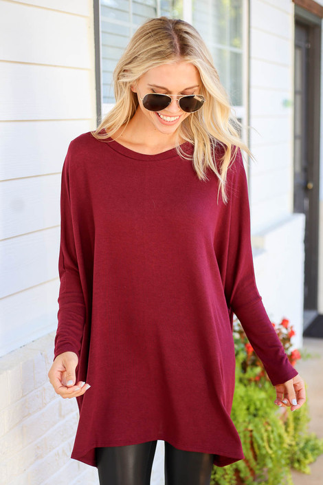 Burgundy - Oversized Dolman Sleeve Top Front View