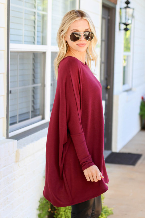 Burgundy - Oversized Dolman Sleeve Top Side View