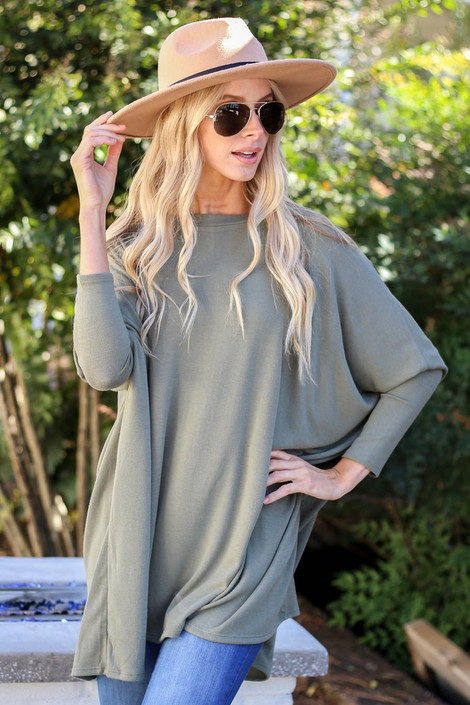 Olive - Oversized Dolman Sleeve Top