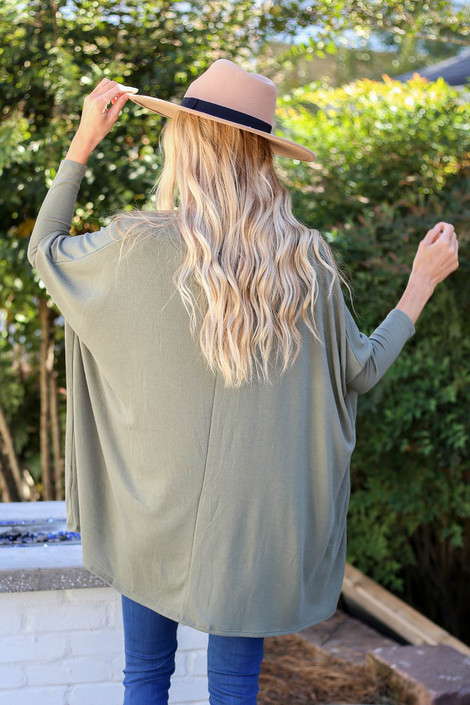 Olive - Oversized Dolman Sleeve Top Back View