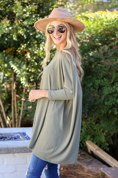 Olive - Oversized Dolman Sleeve Top Side View