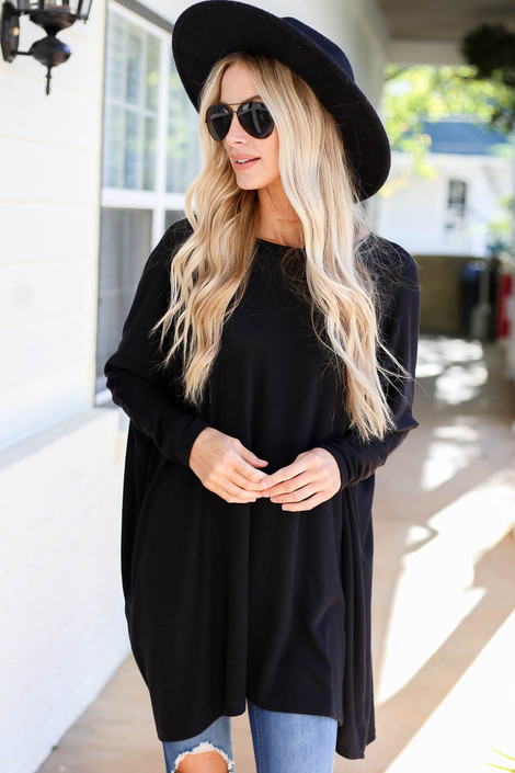 Black - Oversized Dolman Sleeve Top Front View