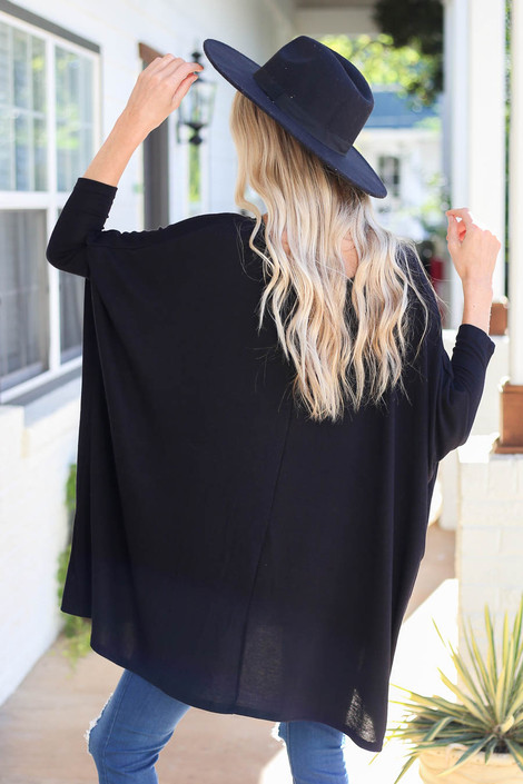 Black - Oversized Dolman Sleeve Top Back View