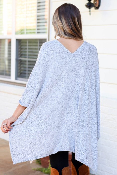 Heather Grey - Heathered Oversized Poncho Top Back View