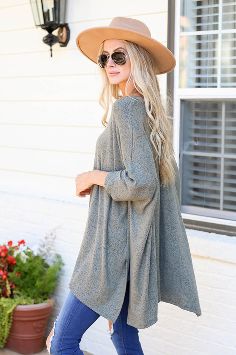 Olive - Heathered Oversized Poncho Top Side View