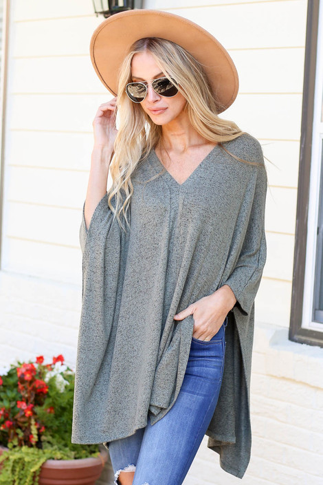 Model wearing Heather Olive Oversized Poncho Top From Dress Up