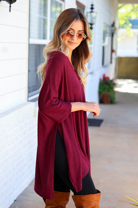 Model wearing Heather Burgundy Oversized Poncho Top From Dress Up