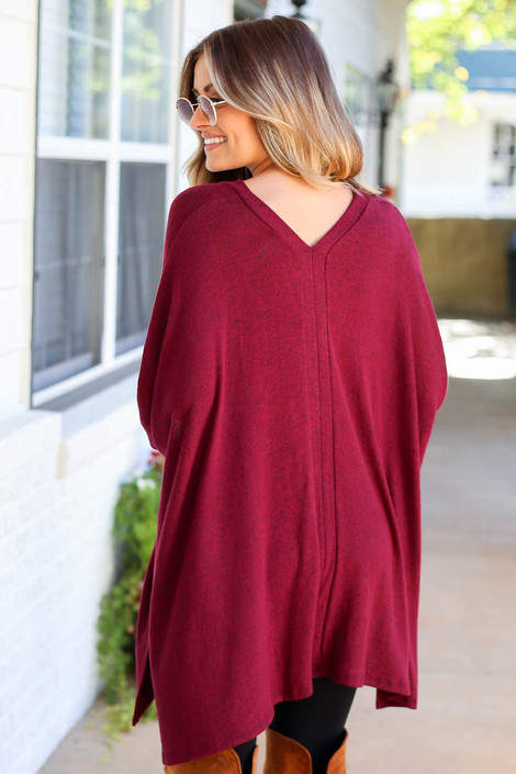 Burgundy - Heathered Oversized Poncho Top Back View