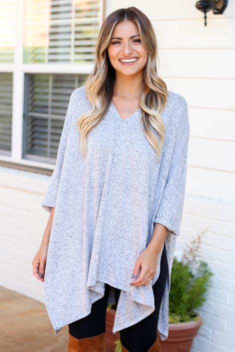 Model wearing Heather Grey Oversized Poncho Top From Dress Up