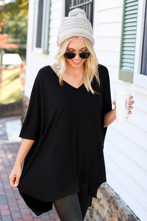 Black - Side Slit Tunic