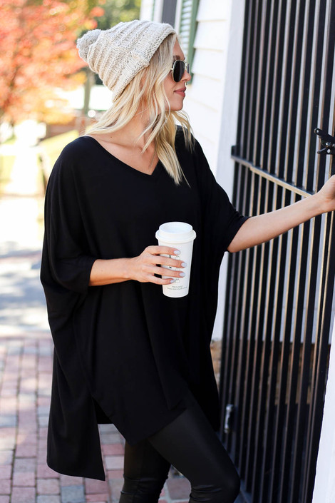 Black - Side Slit Tunic Side View