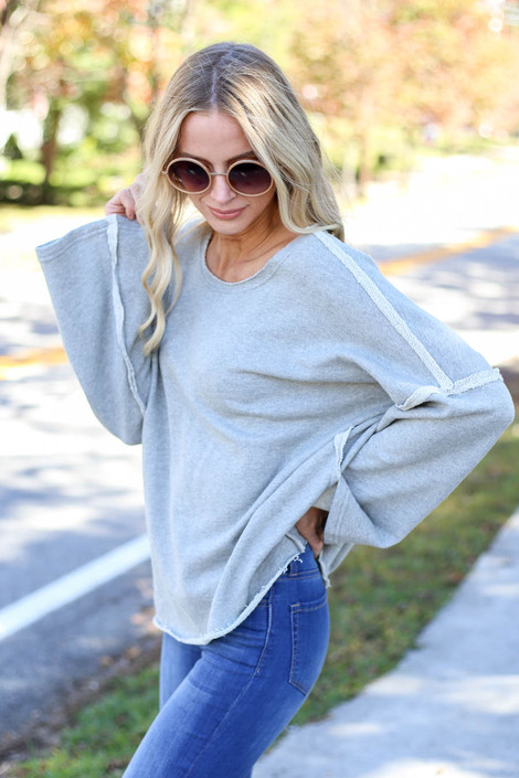 Heather Grey - Bell Sleeve Pullover Side View