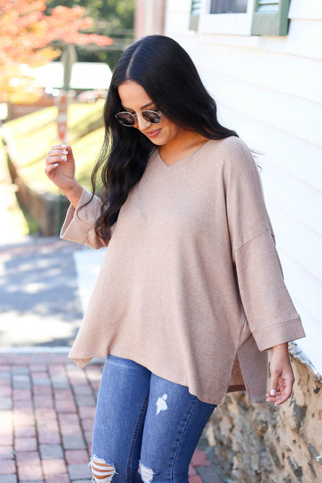 Taupe - Split Hem Knit Top Side View