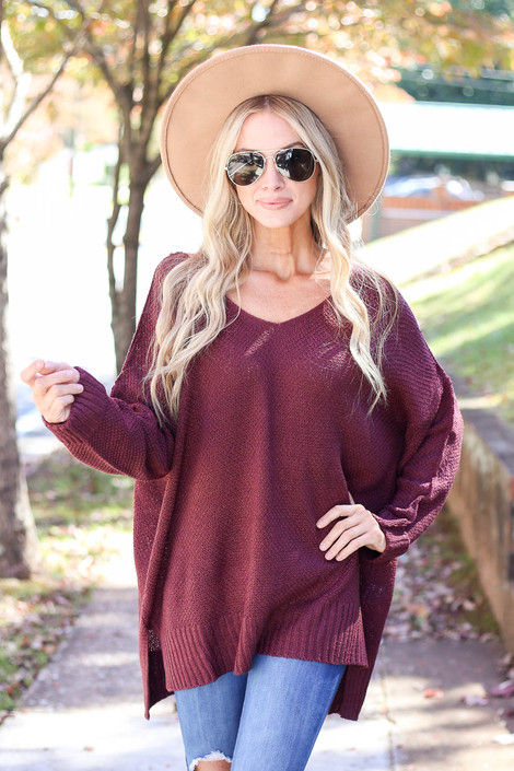 Burgundy - Oversized Knit Sweater